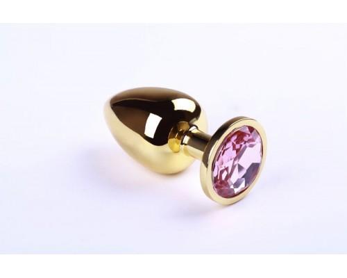 Анальная пробка из металла Gold Pink Topaz размер: L CRYSTAL