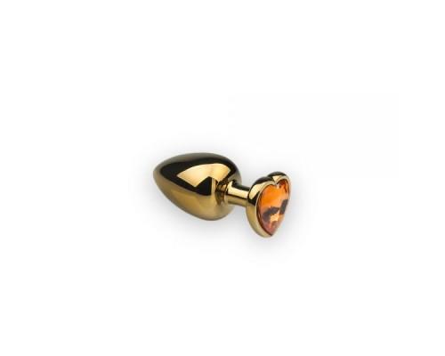Анальная пробка из металла Gold Heart Citrine размер: S CRYSTAL