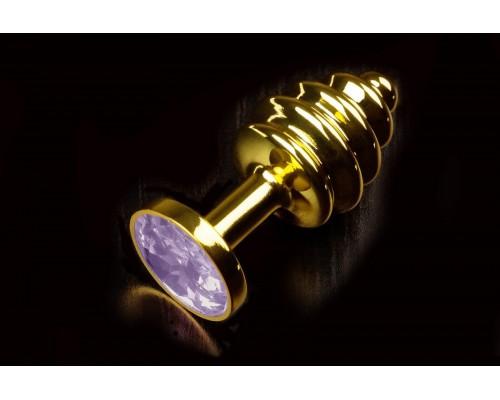 Витая золотистая анальная пробка с кристаллом, малая