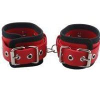 Наручники BDSM-NEW PVC Handcuffs Woven Belt Edge Sealing With Chain, red