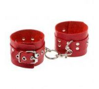 Наручники Leather Rastraints Hand Cuffs, Red