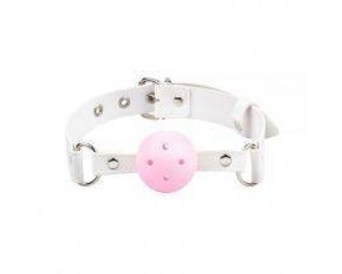 Кляп Breathable ball gag plastic, white-pink