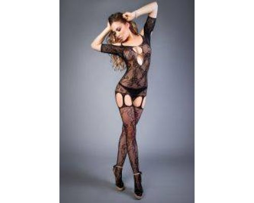 Сетка Bodystocking in net optics with rose patterns black, S-L (40-46)