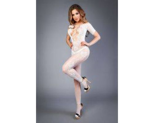 Сетка Bodystocking in net look with floral pattern white, S-L (40-46)
