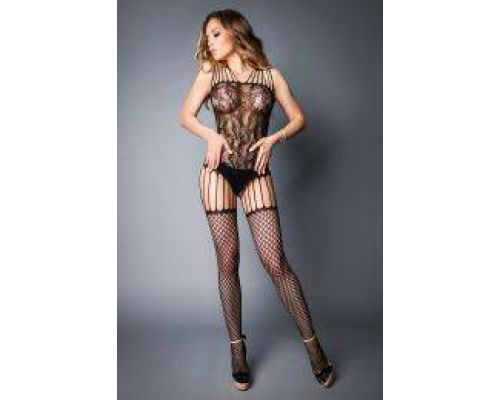 Сетка Bodstocking in lace look with fishnet stockings black, S-L (40-46)
