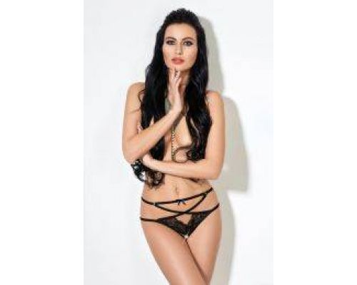 Трусики Overslip with straps, lace and loop black, M/L (46-48)