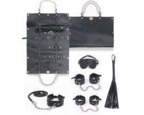 Набор для БДСМ игр BDSM-NEW PVC Bondage Set, black