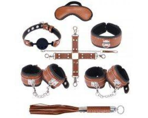 Набор для БДСМ игр BDSM-NEW PVC Snakeskin Bondage Set, brown