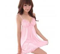 Пеньюар розовый на завязках