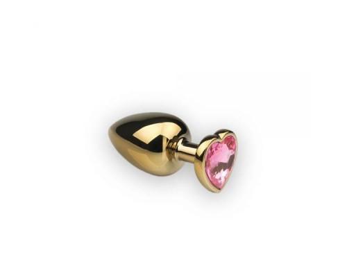 sLash - Анальная пробка,Gold Heart Pink Topaz, M (281196)