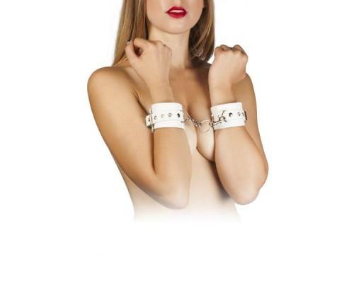 sLash - Наручники Leather Restraints Hand Cuffs, WHITE (280159)
