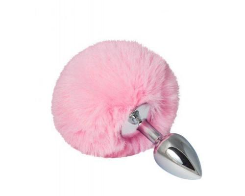 sLash - Металлическая анальная пробка с помпоном S, baby pink (281099)