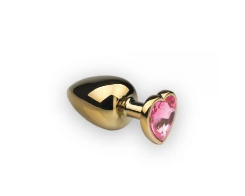sLash - Анальная пробка,Gold Heart Pink Topaz, L (281195)