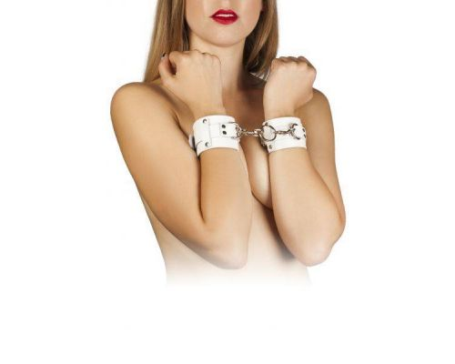 sLash - Наручники Leather Dominant Hand Cuffs, WHITE (280153)