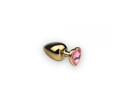 sLash - Анальная пробка,Gold Heart Pink Topaz, S (281197)