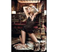 BACI - Пеньюар из тонкого кружева Black Patterned Tulle Halterneck Chemise (B1052-BLACK-OS)