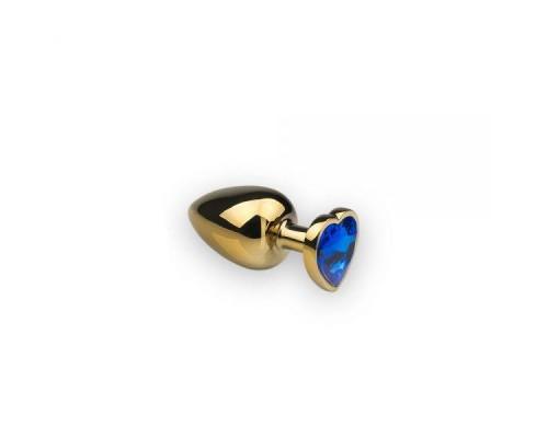 sLash - Анальная пробка,Gold Heart Sapphire, S (281188)