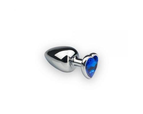 sLash - Анальная пробка, Silver Heart Sapphire, M (281223)