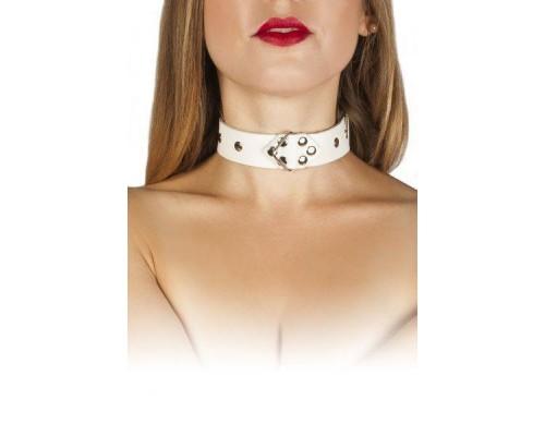 sLash - Ошейник Leather Restraints Collar, WHITE (280165)