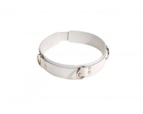 sLash - Ошейник Slave leather collar, WHITE (280242)