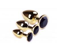 sLash - Набор анальных пробок, Gold Black Diamond, L, M, S (281030)
