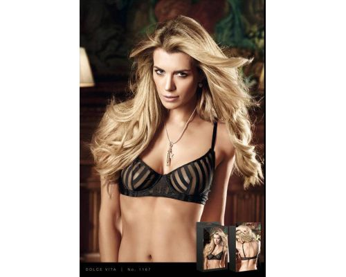 BACI - Бюстгалтер Black Bra With Transparent Stripes, 32C (B1167-BLACK-32C)
