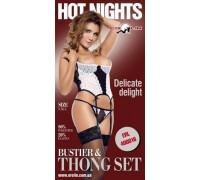 Erolin - Корсет и трусики Hot Nights Delicate Delight, S (ERL400016_black+white S)