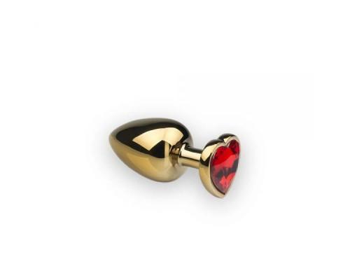 sLash - Анальная пробка,Gold Heart Ruby, M (281178)