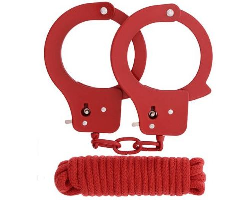 Dream Toys - Набор BONDX METAL CUFFS&LOVE ROPE SET, RED (DT20868)