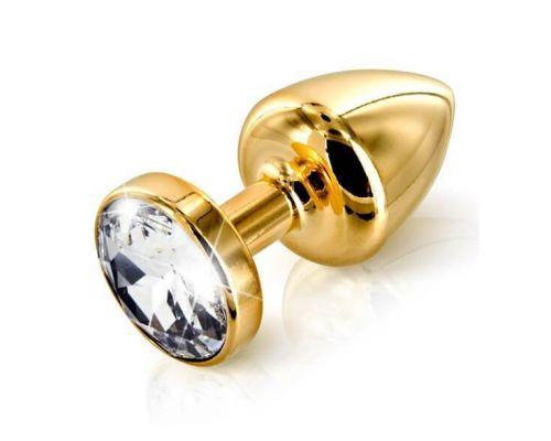 Анальная пробка страз Diogol Anni round gold с камнем Сваровски 30 мм