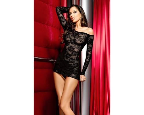 Кружевное черное мини платье Anais Gianna