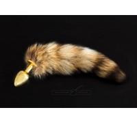 Маленькая золотистая анальная пробка с хвостом Пикантные Штучки, 7 см