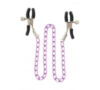 Металлические зажимы для сосков с розовой цепочкой Stimulating Nipple Chain Metal