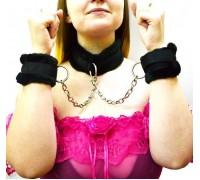 Меховые ошейник с наручниками