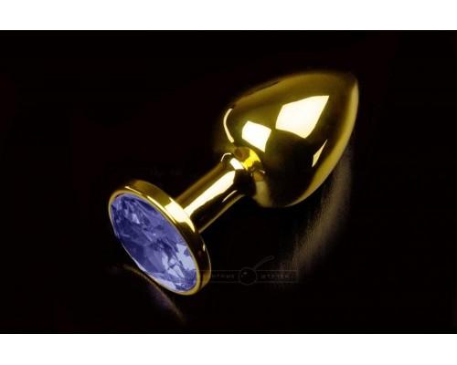 Малая золотистая анальная пробка с кристаллом, 7,5х2,5 см (синий)