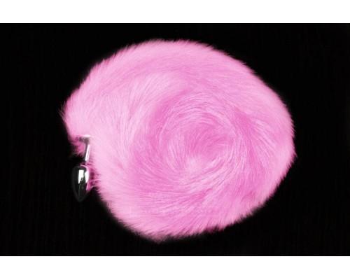 Пикантные Штучки - серебристая анальная пробка с пушистым хвостиком - 6х2,5 см (розовый)