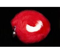 Пикантные Штучки - cеребристая анальная пробка с пушистым хвостом - 6х2.5 см (красный)