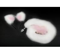 Пикантные Штучки - анальная пробка с длинным хвостиком и ушками в комплекте (белый с розовым), 7х2,8 см