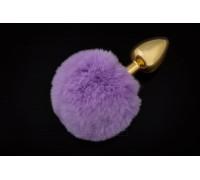 Маленькая золотистая пробка с пушистым хвостиком Пикантные Штучки, 7х3 см (сиреневый)