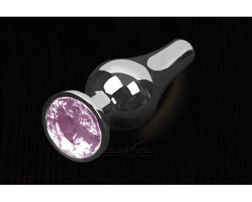 Пикантные Штучки, Серебристая анальная пробка с кристаллом - 8,5х3 см. (розовый)