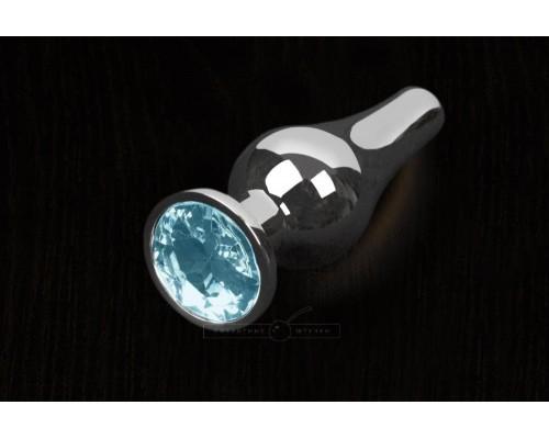 Пикантные Штучки, Серебристая анальная пробка с кристаллом - 8,5х3 см. (голубой)