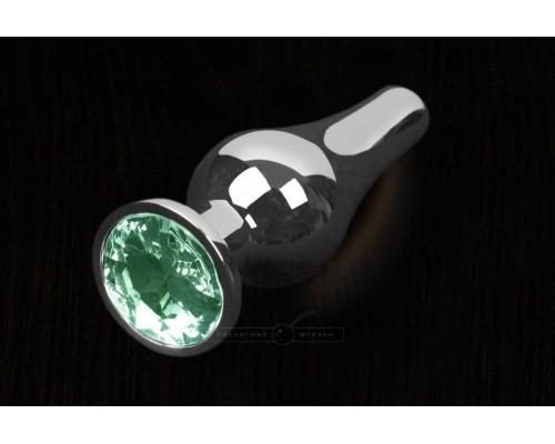 Пикантные Штучки, Серебристая анальная пробка с кристаллом - 12Х4 см. (изумрудный)