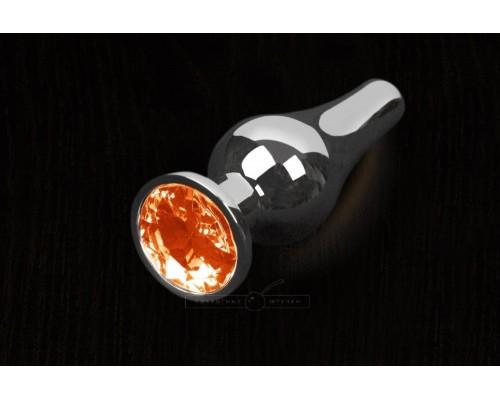 Пикантные Штучки, Серебристая анальная пробка с кристаллом - 8,5х3 см. (оранжевый)