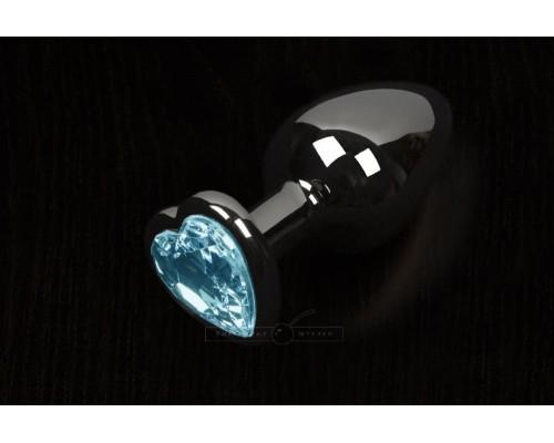 Пикантные Штучки, Большая графитовая анальная пробка с кристаллом в виде сердечка - 8,5Х4 см (голубой)