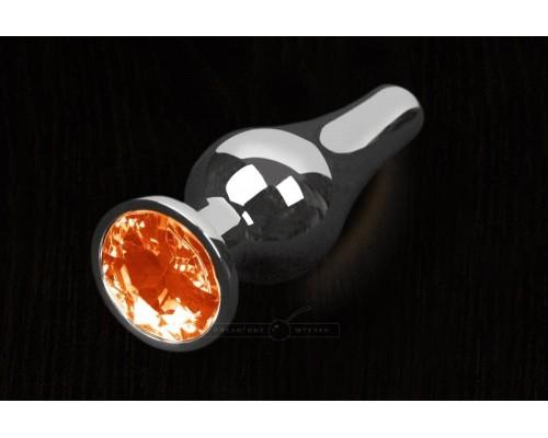 Пикантные Штучки, Серебристая анальная пробка с кристаллом - 12Х4 см. (оранжевый)