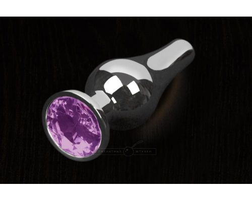 Пикантные Штучки, Серебристая анальная пробка с кристаллом - 12Х4 см. (фиолетовый)