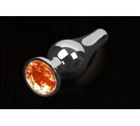 Пикантные штучки - Большая графитовая анальная пробка с кристаллом, 12Х4 см (оранжевый)
