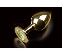 Большая золотистая анальная пробка с кристаллом (желтый)