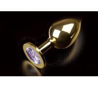 Большая золотистая анальная пробка с кристаллом (сиреневый)