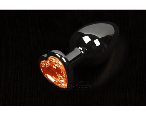 Пикантные Штучки, Большая графитовая анальная пробка с кристаллом в виде сердечка - 8,5Х4 см (оранжевый)